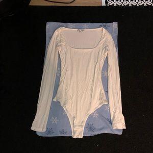 Fashion Nova White Low Cut Long Sleeve BodySuit